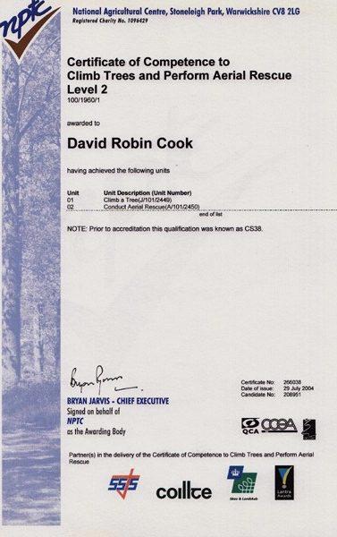 Climbing Trees Certificate